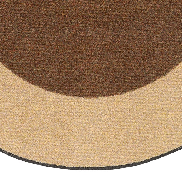 "Solid Classroom Rug w/ Color Block Border - Oval (7' 6"" W x 12' L) - Chocolate/Sand"