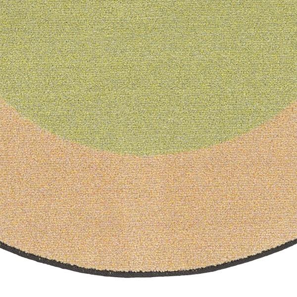 Solid Classroom Rug w/ Color Block Border - Round (6' Diameter)  - Fern/Sand