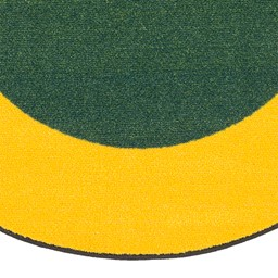 "Solid Classroom Rug w/ Color Block Border - Oval (7' 6"" W x 12' L) - Green/Yellow"
