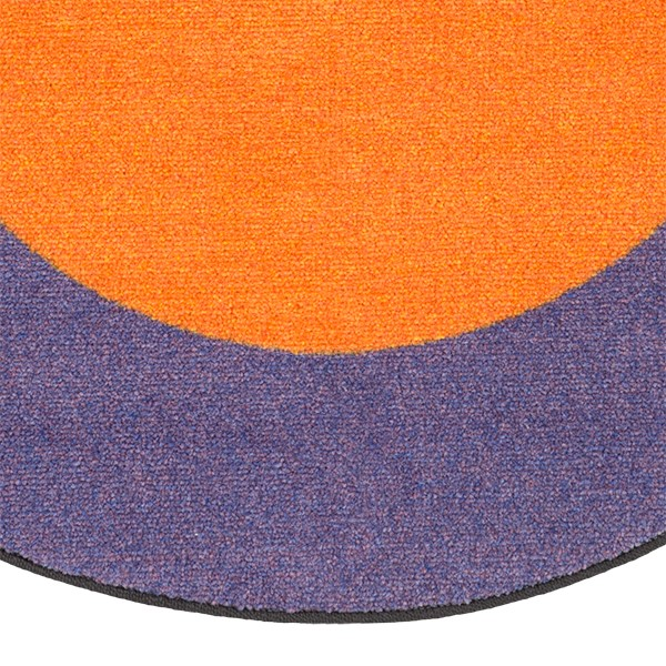 "Solid Classroom Rug w/ Color Block Border - Oval (10' 9"" W x 13' 2"" L) - Orange/Purple"