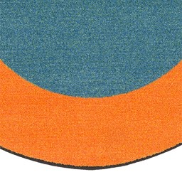 "Solid Classroom Rug w/ Color Block Border - Oval (7' 6"" W x 12' L) - Teal/Orange"