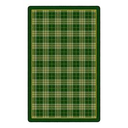 """Playful Plaid Classroom Rug (7\' 6\"""" W x 12\' L) - Green"""