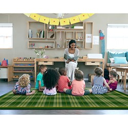"Playful Plaid Classroom Rug (7' 6"" W x 12' L)"
