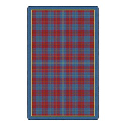 "Playful Plaid Classroom Rug (7' 6"" W x 12' L) - Red"