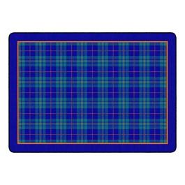 "Playful Plaid Classroom Rug (6\' W x 8\' 4\"" L) - Blue"