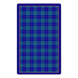 "Playful Plaid Classroom Rug (7' 6"" W x 12' L) - Blue"