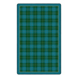 "Playful Plaid Classroom Rug (7' 6"" W x 12' L) - Turquoise"