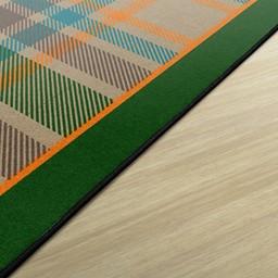 Tartan Plaid Classroom Rug - Edge