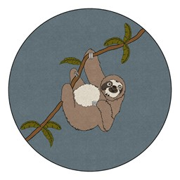 Natural Sloth Nursery Rug (6' Diameter)