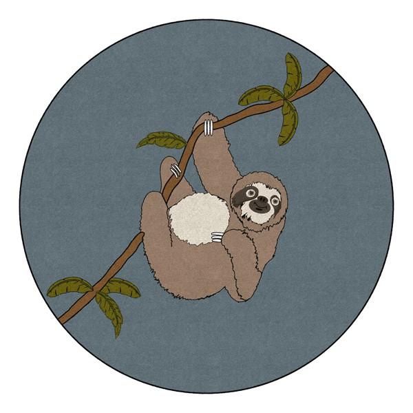 Natural Sloth Nursery Rug (6' Diameter)