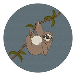Natural Sloth Nursery Rug (12' Diameter)