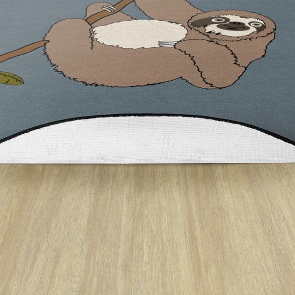 Natural Sloth Nursery Rug - Backing