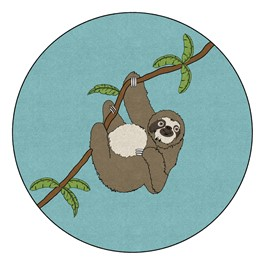 Sloth Nursery Rug (6\' Diameter)