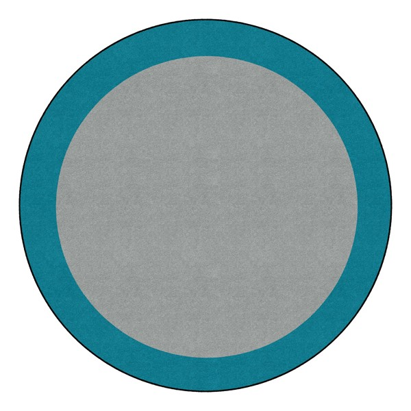 Solid Classroom Rug w/ Color Block Border - Round (6' Diameter) - Light Gray/Teal