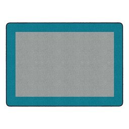 "Solid Classroom Rug w/ Color Block Border - Rectangle (10' 9"" W x 13' 2"" L) - Light Gray/Teal"