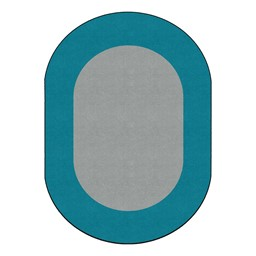 "Solid Classroom Rug w/ Color Block Border - Oval (7' 6"" W x 12' L) - Light Gray/Teal"