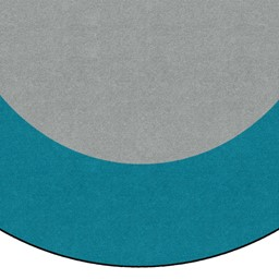 Solid Classroom Rug w/ Color Block Border - Light Gray/Teal