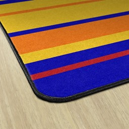 Primary Color Striped Classroom Rug - Edges
