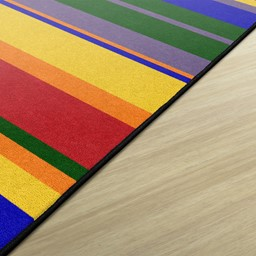 Primary Color Striped Classroom Rug
