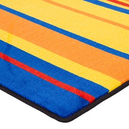 Primary Color Striped Classroom Rug - Corner