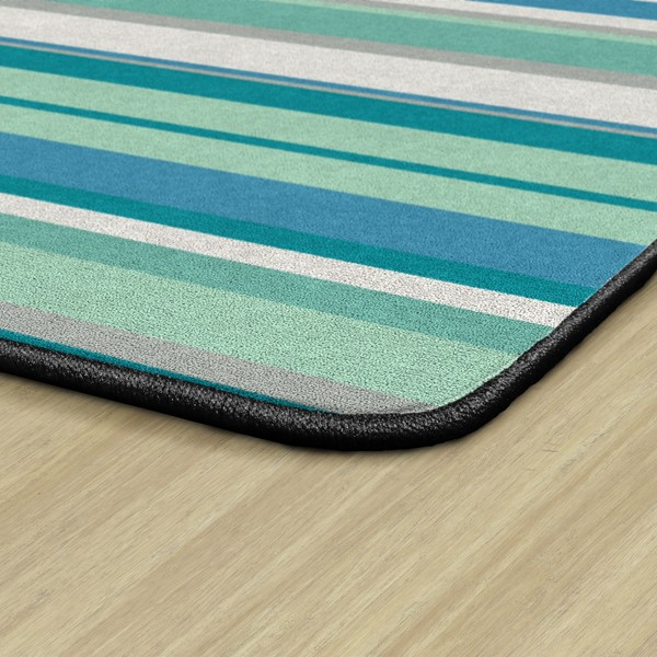 Contemporary Color Striped Classroom Rug - Rectangle - Backing
