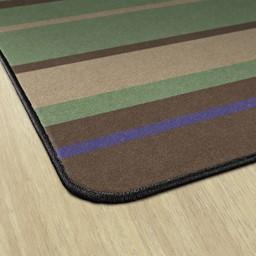 Natural Color Striped Classroom Rug - Edges