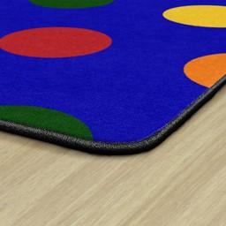 Primary Color Polka Dot Classroom Rug - Edges