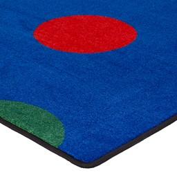 Primary Color Polka Dot Classroom Rug - Corner