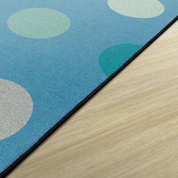 Contemporary Color Polka Dot Classroom Rug - Rectangle - Edges
