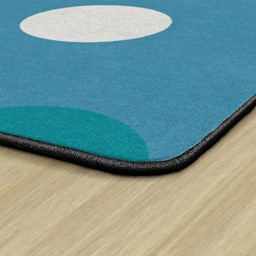 Contemporary Color Polka Dot Classroom Rug - Backing