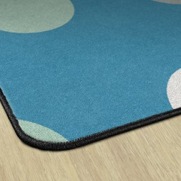 Contemporary Color Polka Dot Classroom Rug - Edges