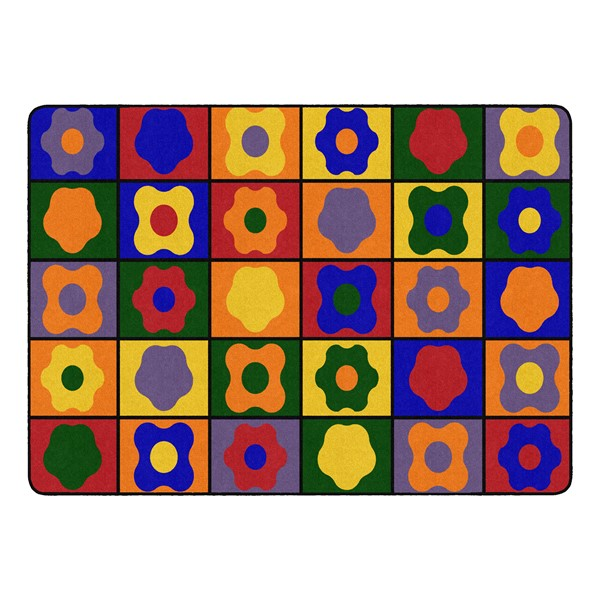 """Primary Color Cog Seating Classroom Rug - Rectangle (6' W x 8' 4"""" L)"""