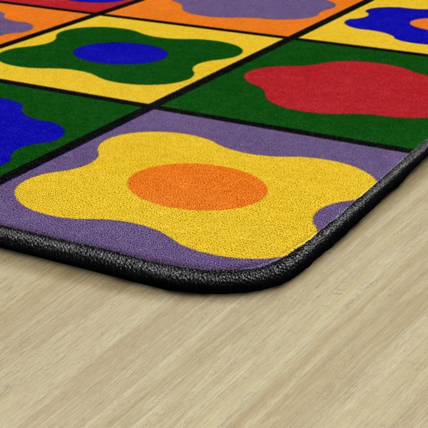Primary Color Cog Seating Classroom Rug - Rectangle - Edges