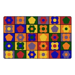 """Primary Color Cog Seating Classroom Rug - Rectangle (7\' 6\"""" W x 12\' L)"""