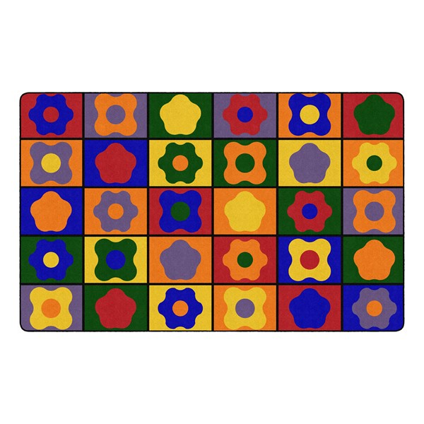 """Primary Color Cog Seating Classroom Rug - Rectangle (7' 6"""" W x 12' L)"""