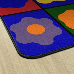 Primary Color Cog Seating Classroom Rug - Edges