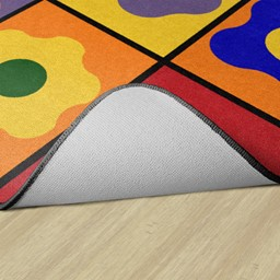Primary Color Cog Seating Classroom Rug - Backing