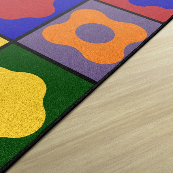 Primary Color Cog Seating Classroom Rug - Rectangle