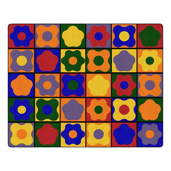 """Primary Color Cog Seating Classroom Rug - Rectangle (10' 6"""" W x 13' 2"""" L)"""