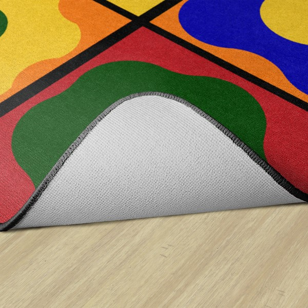 Primary Color Cog Seating Classroom Rug - Rectangle - Backing