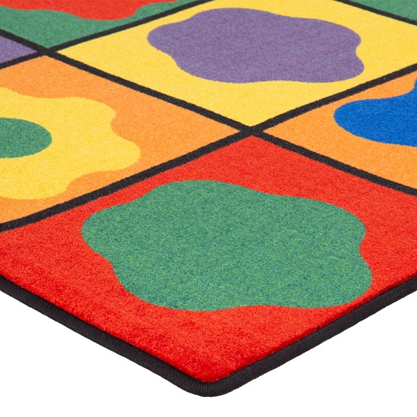 """Primary Color Cog Seating Classroom Rug - Rectangle (7' 6"""" W x 12' L) - Corner"""