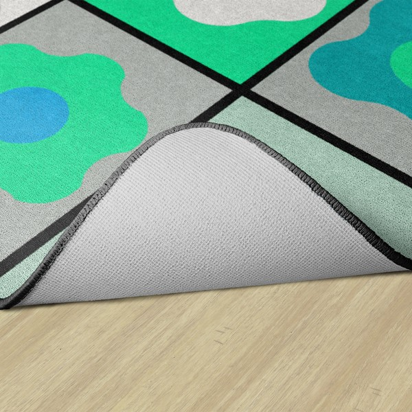 Contemporary Color Cog Seating Classroom Rug - Backing