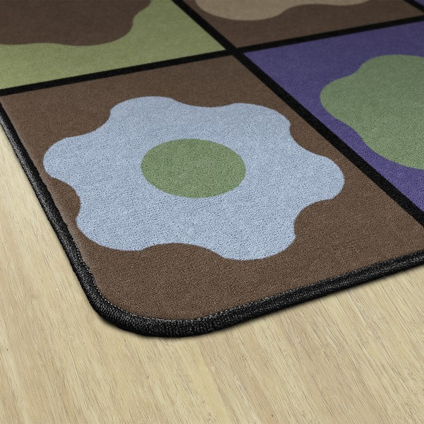 Natural Color Cog Seating Classroom Rug - Edges