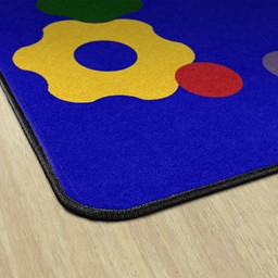 Primary Color Cog Border Classroom Rug - Edges