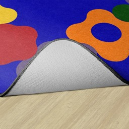 Primary Color Cog Border Classroom Rug - Backing