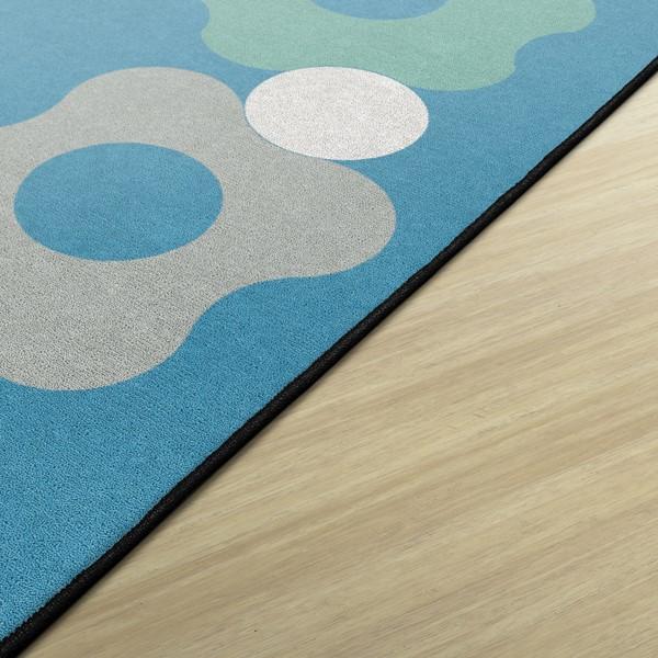 Contemporary Color Cog Border Classroom Rug - Edges