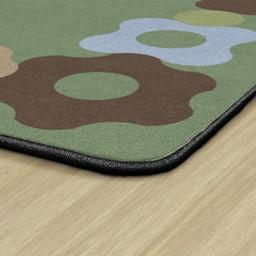 Natural Color Cog Border Classroom Rug - Edges