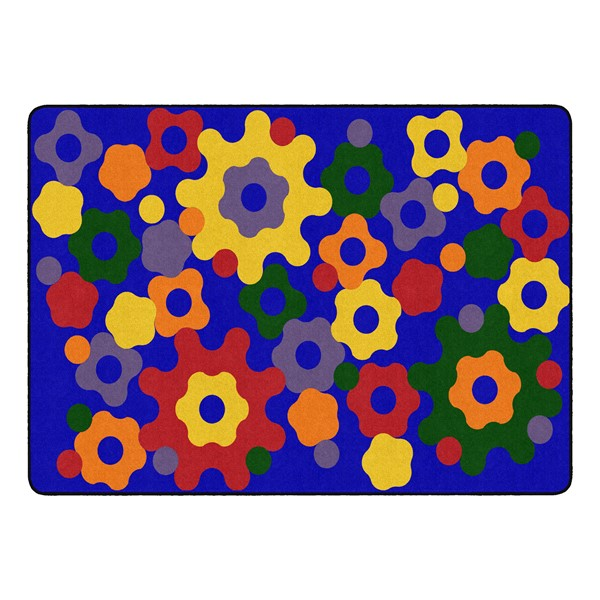 """Primary Color Big Cogs Classroom Rug - Rectangle (6' W x 8' 4"""" L)"""