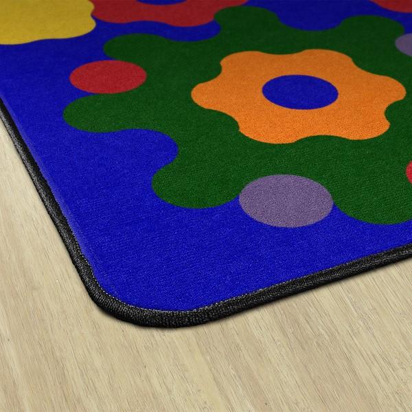 Primary Color Big Cogs Classroom Rug - Edges