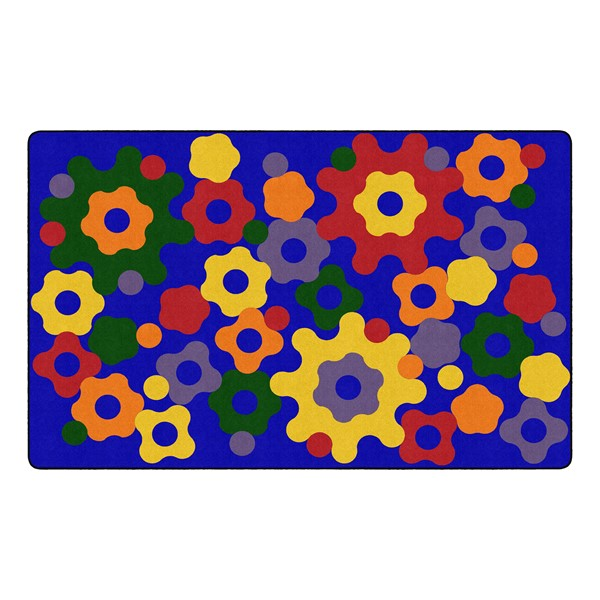 "Primary Color Big Cogs Classroom Rug - Rectangle (7' 6"" W x 12' L)"